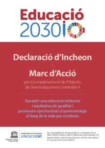 Portada de la Declaració d'Incheon Educació 2030 (2016, UNESCO)